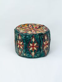 Small Leather Colored Pouffe - Green and Beige