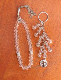 Crystal Rosary and Keychain Set