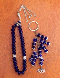 Navy Rosary and Keychain Set