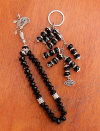 Black Rosary and Keychain Set