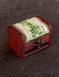 Embroidered Wooden Box - Green Shades