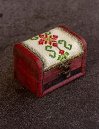 Embroidered Wooden Box - Red Flower
