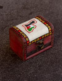 Embroidered Wooden Box - Jordan Map