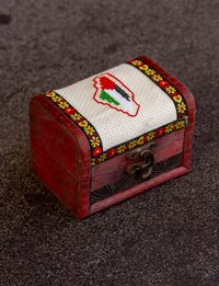 Embroidered Wooden Box - Palestine Map