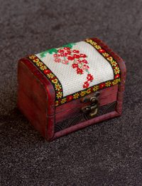 Embroidered Wooden Box - Flower Branch