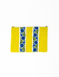 Yellow Burlap Clutch Decorated in Blue