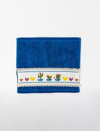 Set of Two Blue Towel with Aloevera Embroidery