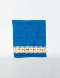 Set of Two Blue Embroidered Towels