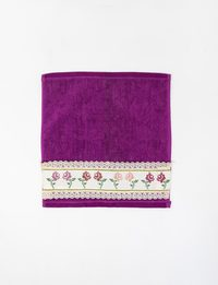 Set of Two Purple Embroidered Towels with Flower Embroidery