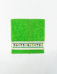 Set of Two Green Embroidered Towels
