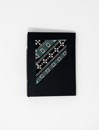 Small Embroidered Black Notebook in Light Blue and Red