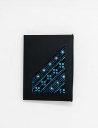دفتر بتطريز فلاحي بدرجات اللون الأزرق - حجم صغير