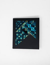 Large Embroidered Black Notebook in Blue Shades and Yellow