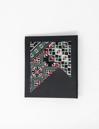Large Embroidered Black Notebook in Green and Red