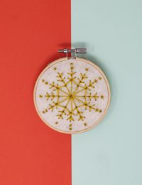 Brazilian Embroidery - Gold Snowflake Magnet