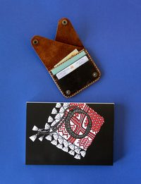 Genuine Leather Wallet with Batrina Notebook
