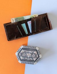 Genuine Leather Wallet with Mother of Pearl Box