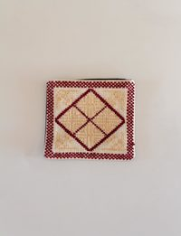 Square Embroidered Wallet - Beige and Burgundy
