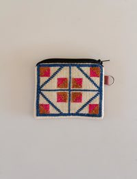 Square Embroidered Wallet - Blue, Orange, and Pink