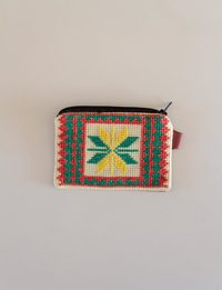 Square Embroidered Wallet - Orange and Green