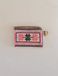 Rectangular Embroidered Wallet - Pink and Black