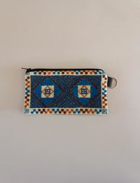 Rectangular Embroidered Wallet - Blue and Brown Shades