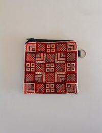 Square Embroidered Wallet - Red Shades