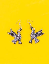 Bird Earrings - Black