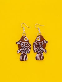 Fish Earring - Brown