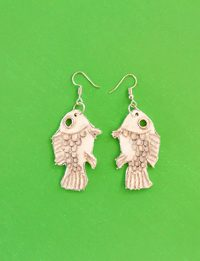 Fish Earring - White