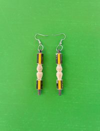 Engraved Cylinder Pencil Earring