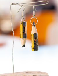 Trapped People in Pencils with Leads Earrings