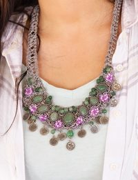 Knitted Necklace in Gray