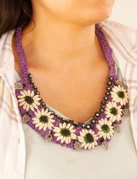 Knitted Necklace in Purple