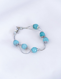 Two-Chain Light Blue Stones Bracelet