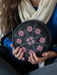 Circular Embroidered Purse - Large : Black