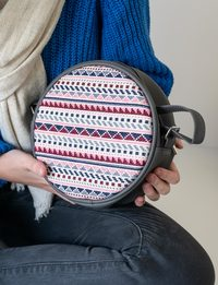 Circular Embroidered Purse - Large : Grey