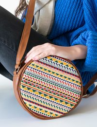 Circular Embroidered Purse - Large : Brown