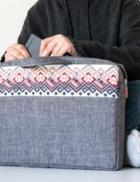 Embroidered Laptop Case - Grey