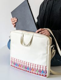Embroidered Laptop Case - Ivory