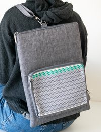 Embroidered Laptop Backpack - Grey