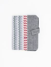 Grey Notebook with White and Red Embroidery