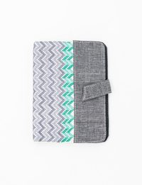 Grey Notebook with Mint and White Patterns