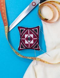 Pin Cushion - Maroon and Black Cross-stitch