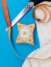 Pin Cushion - Orange and Gray Cross-stitch