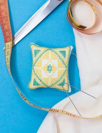 Pin Cushion - Yellow and Green Cross-stitch