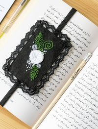 Embroidered Bookmark in Black
