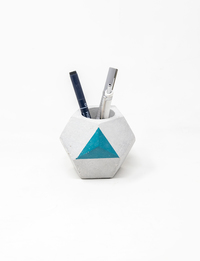 Geometric Pen Holder - Small (Blue)
