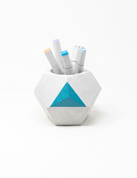 Geometric Pen Holder - Large (Blue)