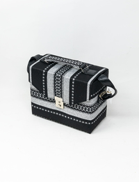 Bedouin Box Bag in Black and Silver